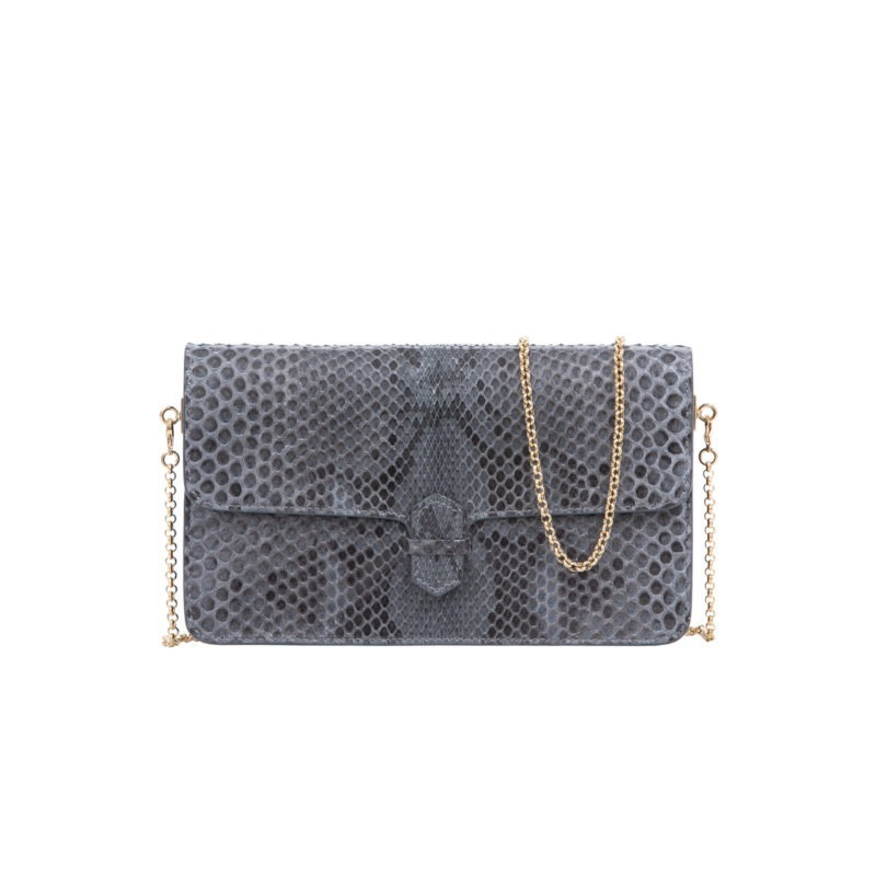 Accordion Crossbody Wallet in Anthracite Python 1