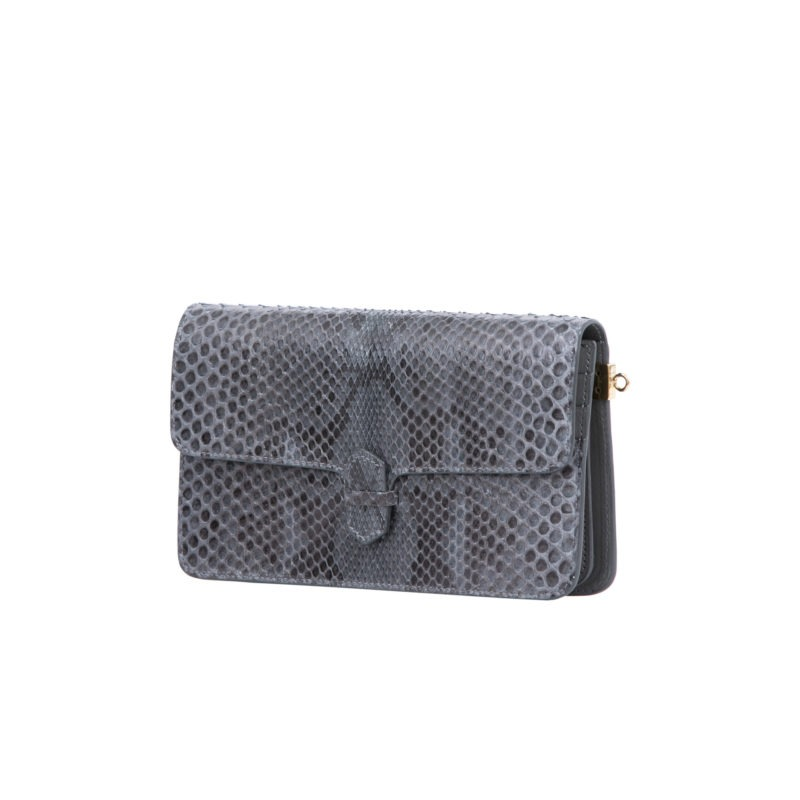 Accordion Crossbody Wallet in Anthracite Python 2