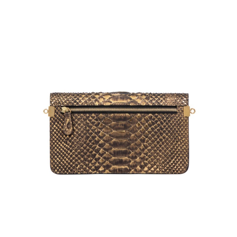 Accordion Crossbody Wallet in Bronze Metallic Python 3