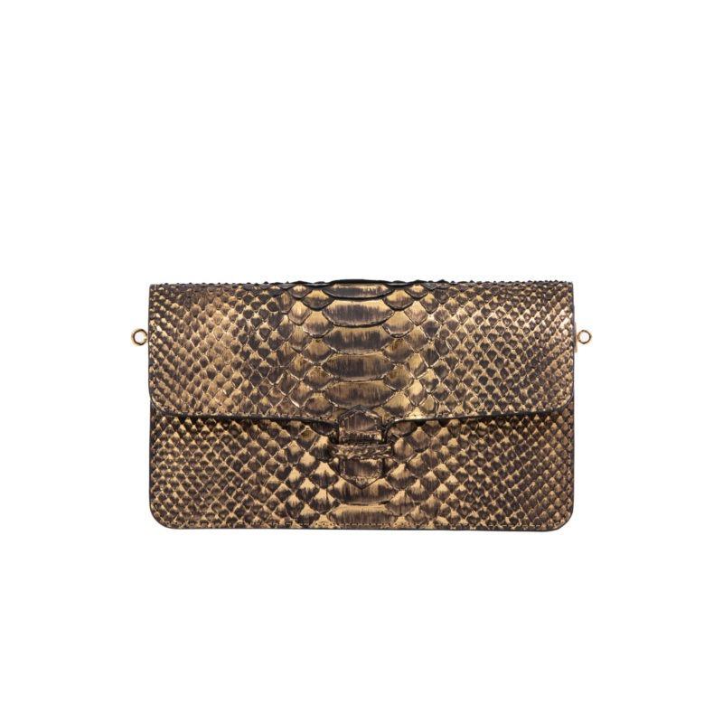 Accordion Crossbody Wallet in Bronze Metallic Python 4