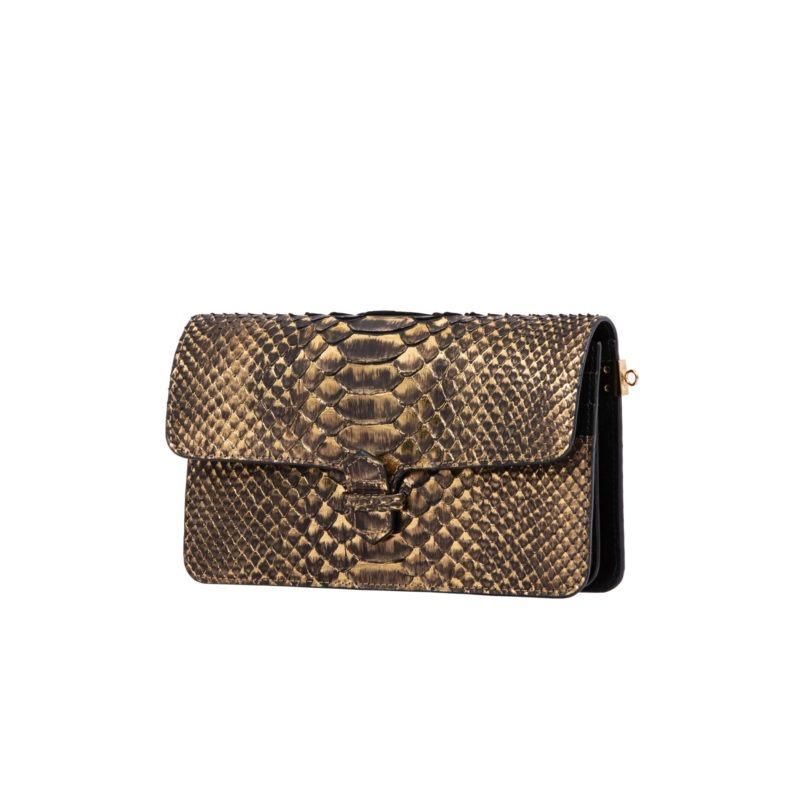 Accordion Crossbody Wallet in Bronze Metallic Python 2