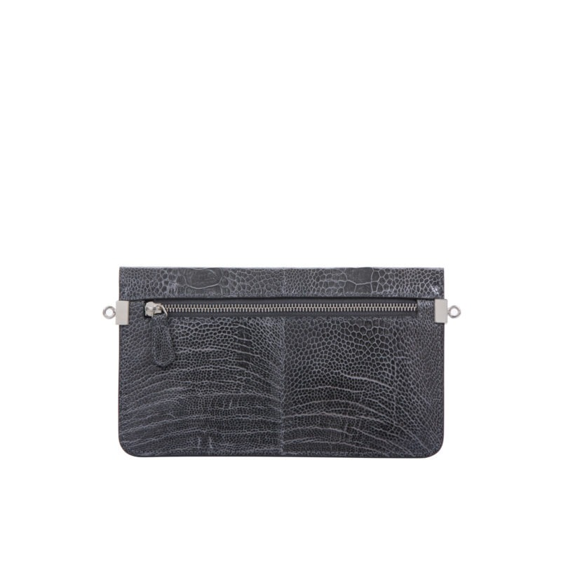 Accordion Crossbody Wallet in Dark Grey Ostrich Leg 3