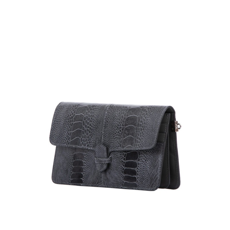 Accordion Crossbody Wallet in Dark Grey Ostrich Leg 2