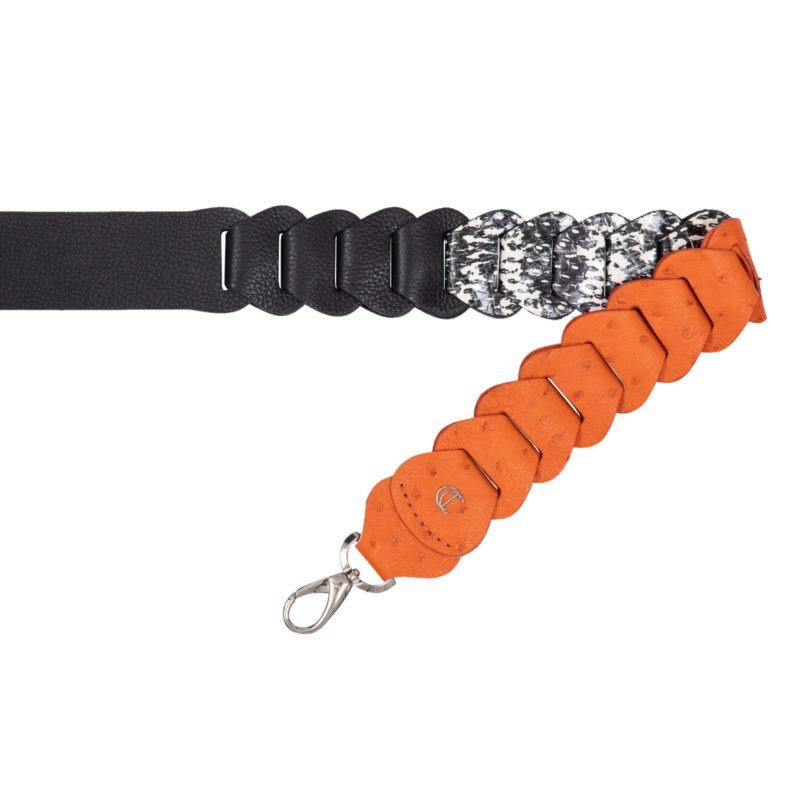 Cross body Link Strap in Tangerine Ostrich & Snake 1