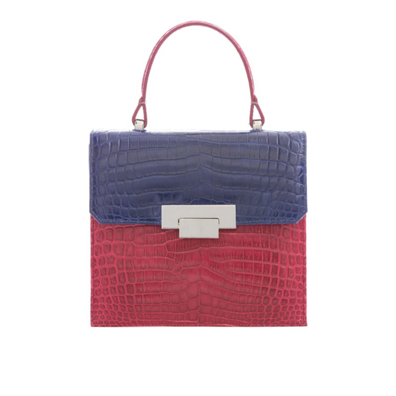 Le Meridian in Red & Navy Crocodile with Python 1