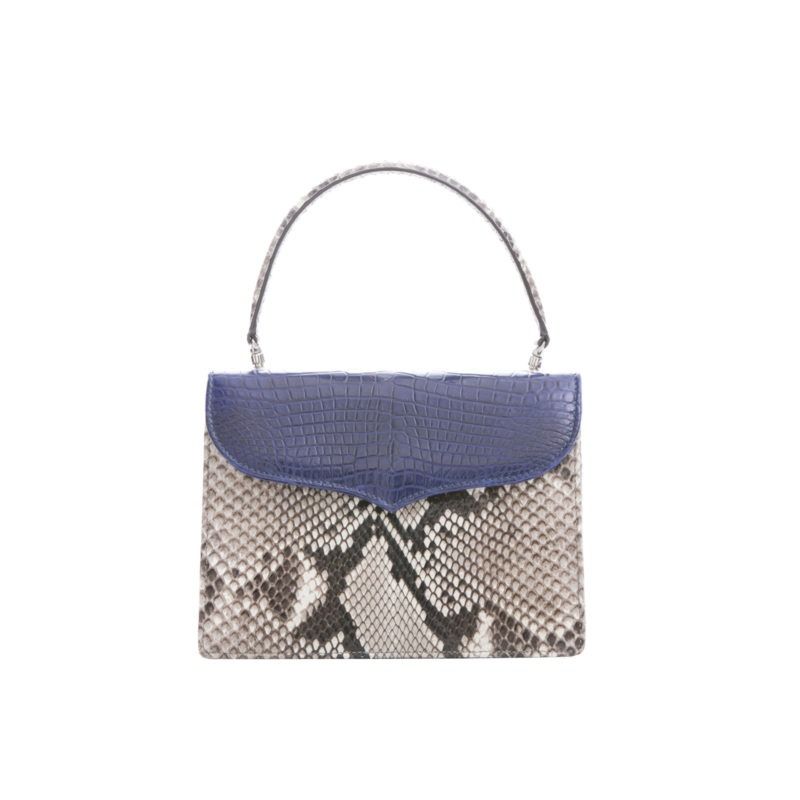 Maxime in Natural Python with Navy Crocodile Flap 1