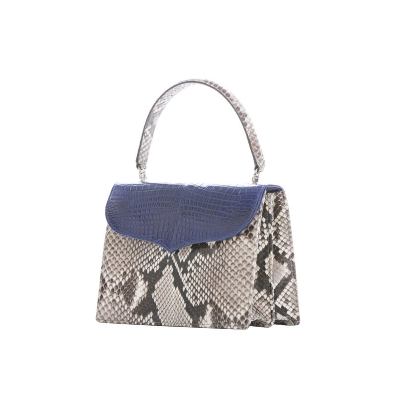 Maxime in Natural Python with Navy Crocodile Flap 2