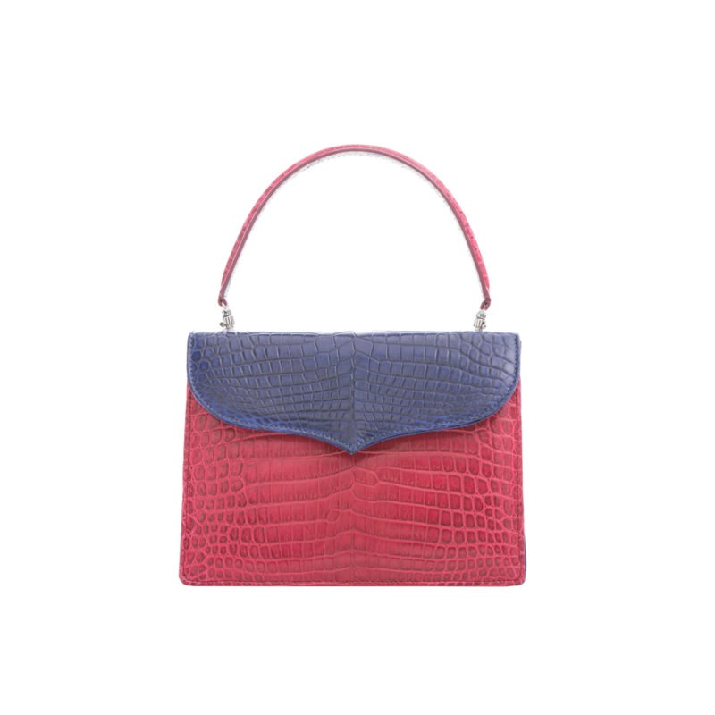Maxime in Red & Navy Crocodile with Natural Python Combination 1