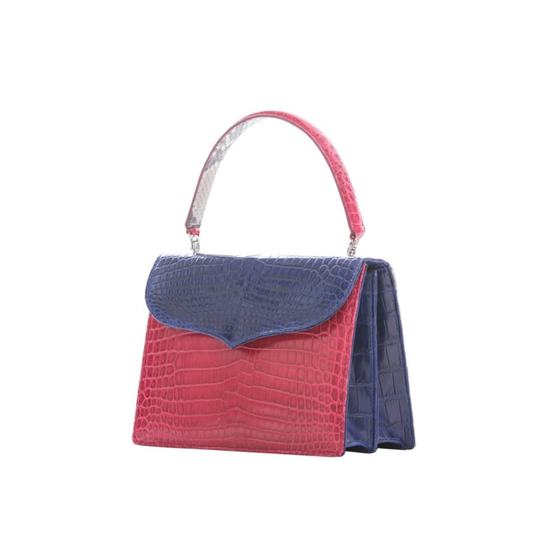 Maxime in Red & Navy Crocodile with Natural Python Combination 2
