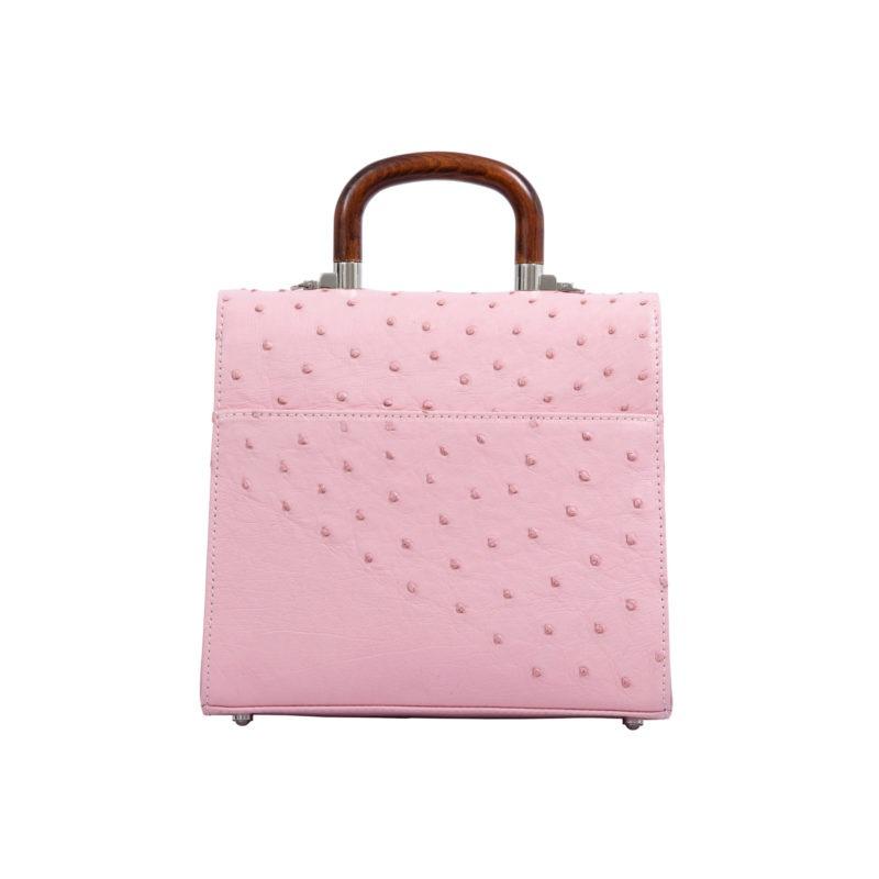 Mona Medium Bag in Powder Pink Ostrich 3