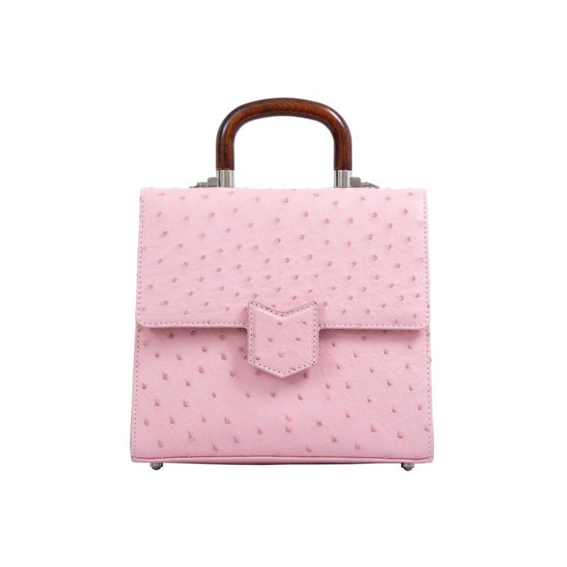 Mona Medium Bag in Powder Pink Ostrich 1