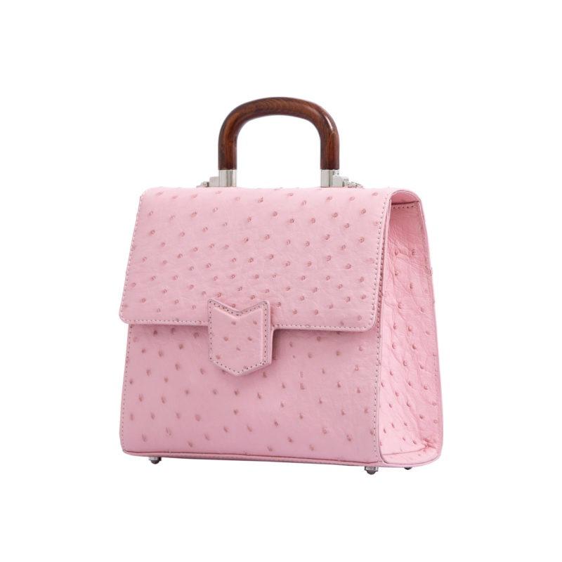 Mona Medium Bag in Powder Pink Ostrich 2