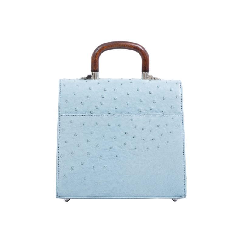 Mona Medium Bag in Sapphire Ostrich 3