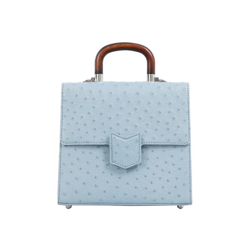 Mona Medium Bag in Sapphire Ostrich 1
