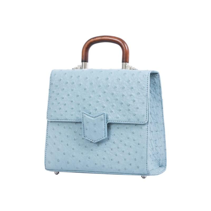 Mona Medium Bag in Sapphire Ostrich 2
