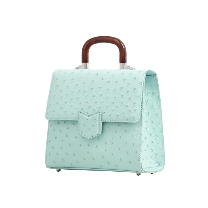 Mona Medium Bag in Spearmint Ostrich 2