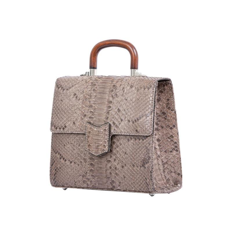 Mona Medium Bag in Nutmeg Python 2
