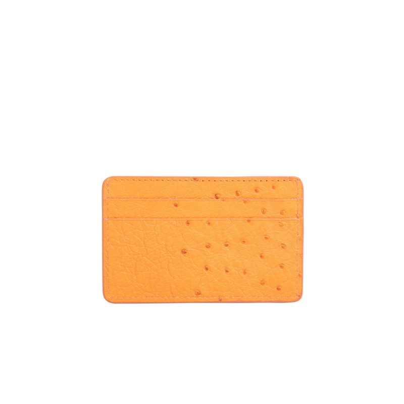 Mona Card Holder in Apricot Ostrich 2