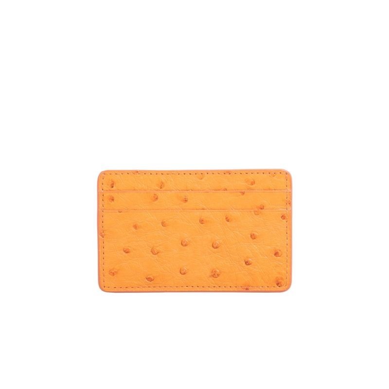 Mona Card Holder in Apricot Ostrich 1