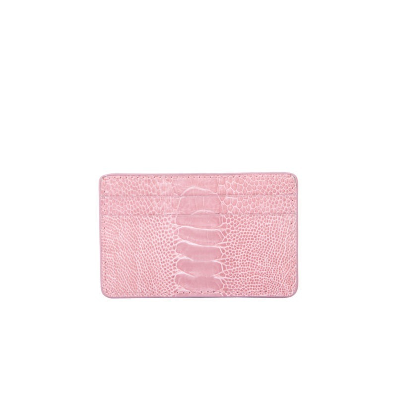 Mona Card Holder in Dusty Pink Ostrich Leg 2