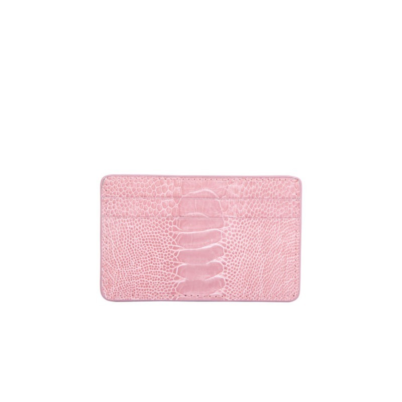 Mona Card Holder in Dusty Pink Ostrich Leg 1