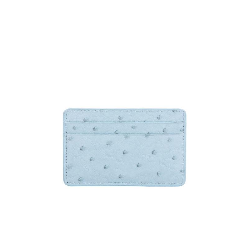 Mona Card Holder in Sapphire Ostrich 1