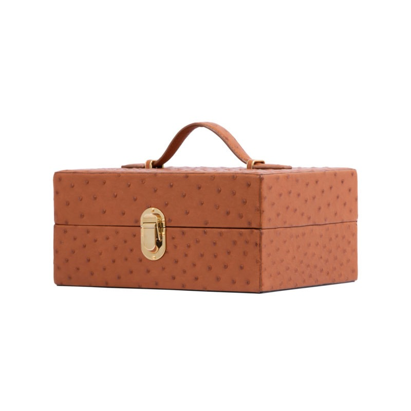 Medium Watchbox in Cognac Ostrich 1