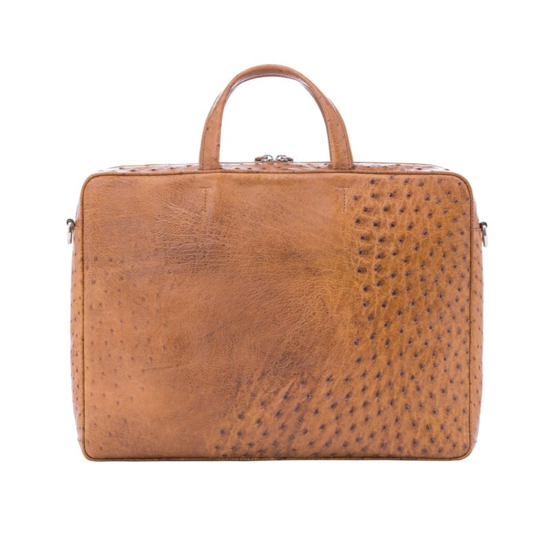 Multi compartment laptop bag in Cognac Maddog Ostrich 3
