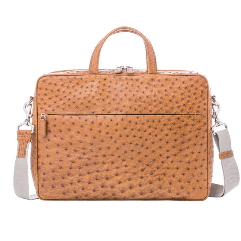 Multi compartment laptop bag in Cognac Maddog Ostrich 1
