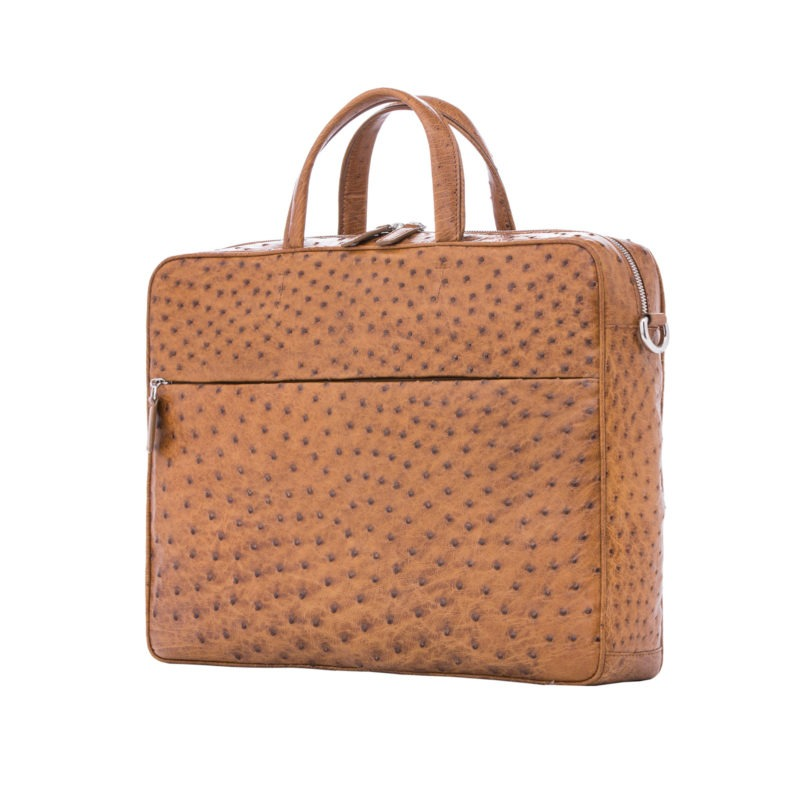 Multi compartment laptop bag in Cognac Maddog Ostrich 2