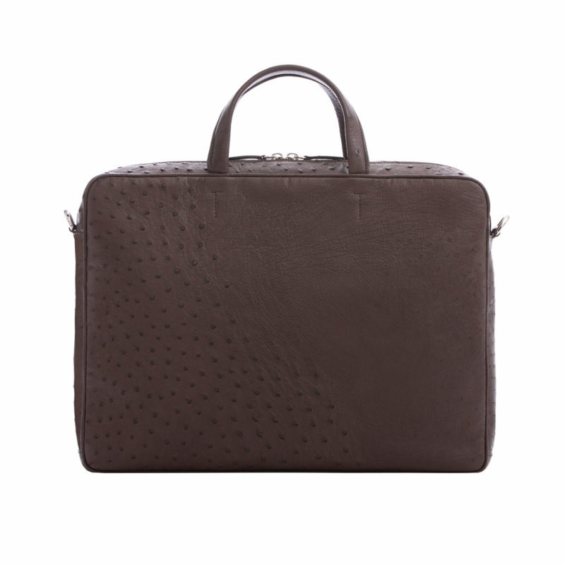 Multi compartment laptop bag in Nicotine Ostrich 3