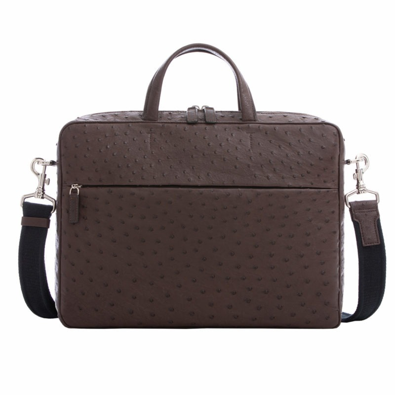 Multi compartment laptop bag in Nicotine Ostrich 1