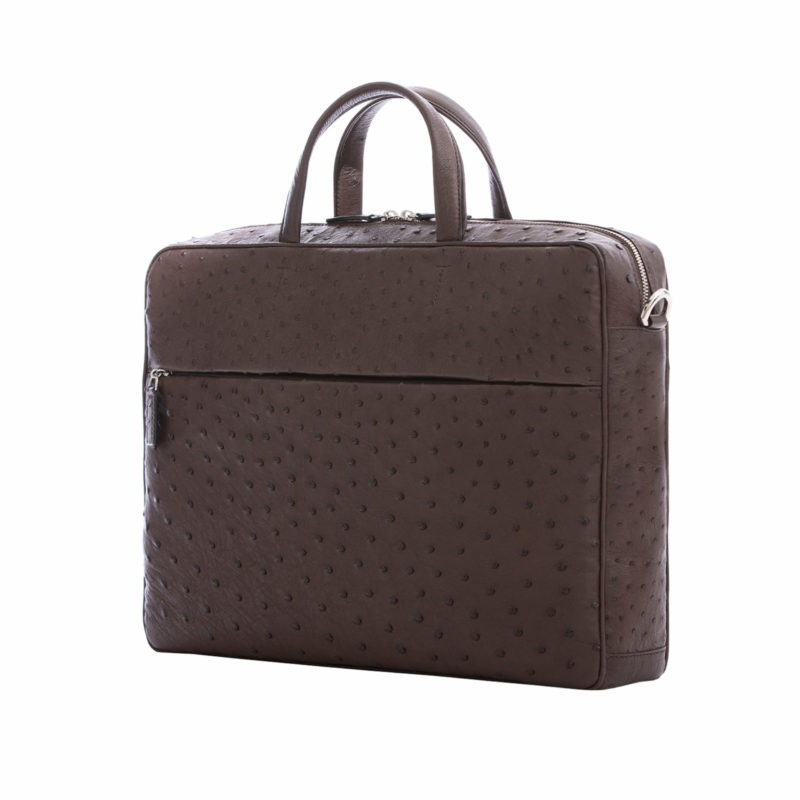 Multi compartment laptop bag in Nicotine Ostrich 2