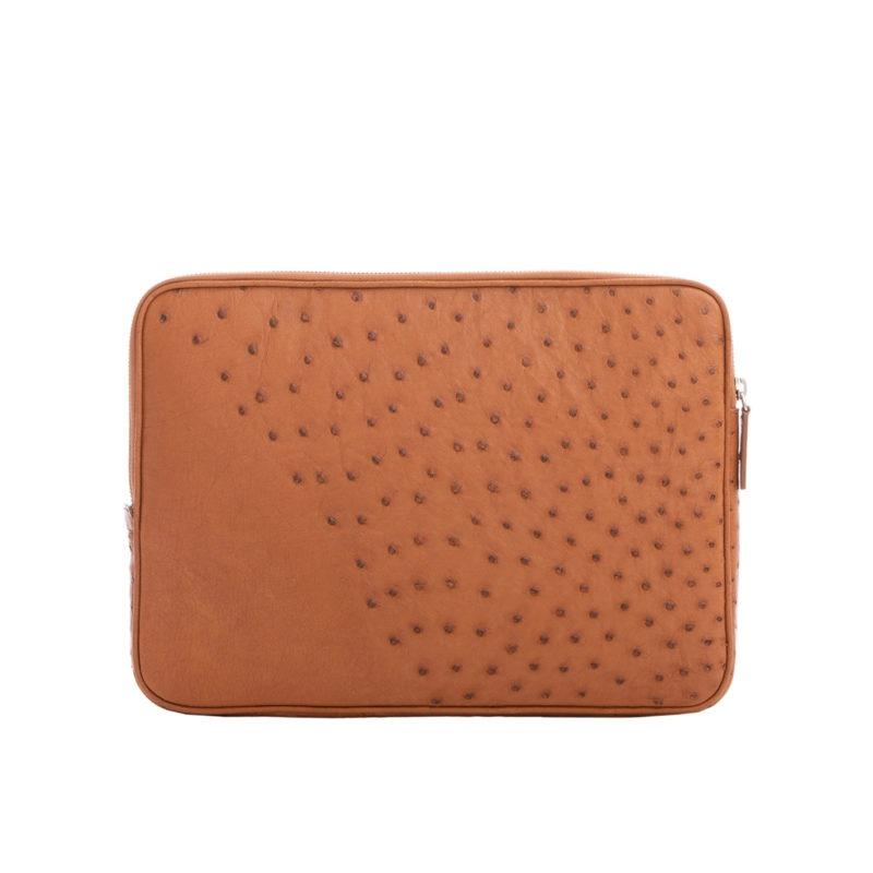 13 inch Laptop Case in Cognac Ostrich 3