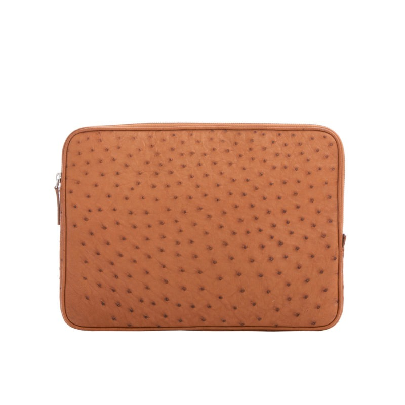 13 inch Laptop Case in Cognac Ostrich 1