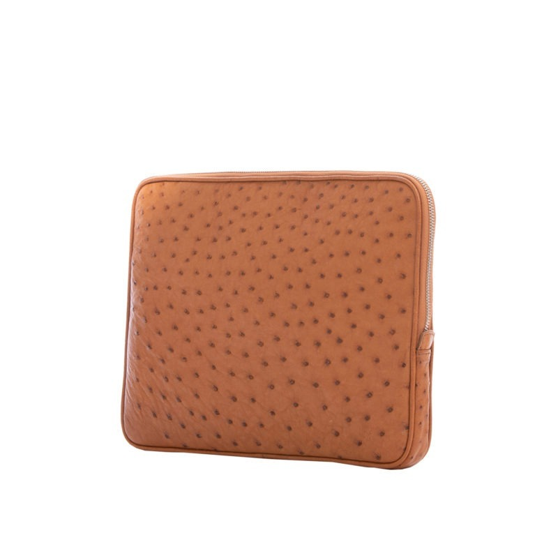 13 inch Laptop Case in Cognac Ostrich 2