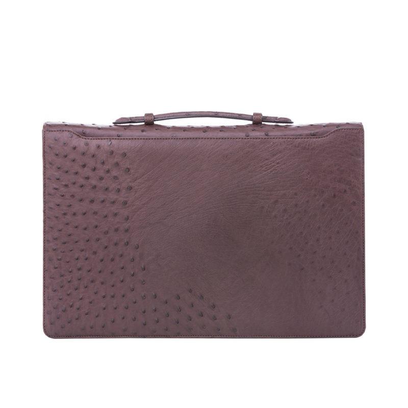 Single clasp briefcase in Nicotene Ostrich 3