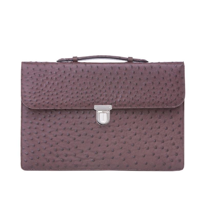 Single clasp briefcase in Nicotene Ostrich 1