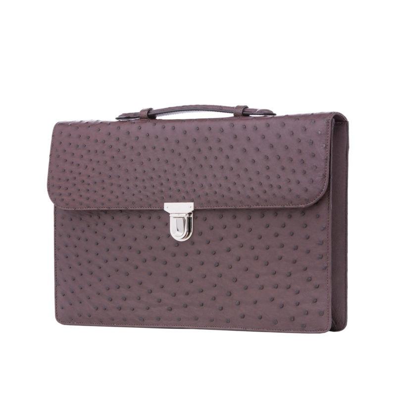 Single clasp briefcase in Nicotene Ostrich 2