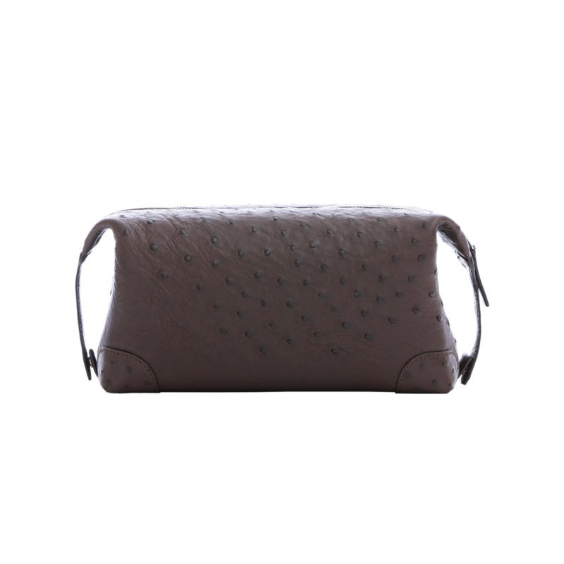 Utility Pouch in Nicotine Ostrich 3