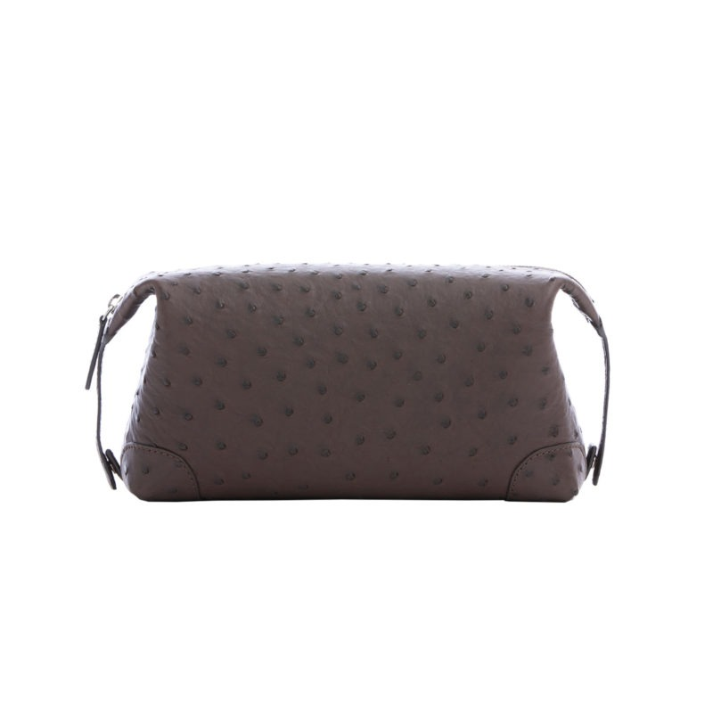 Utility Pouch in Nicotine Ostrich 1