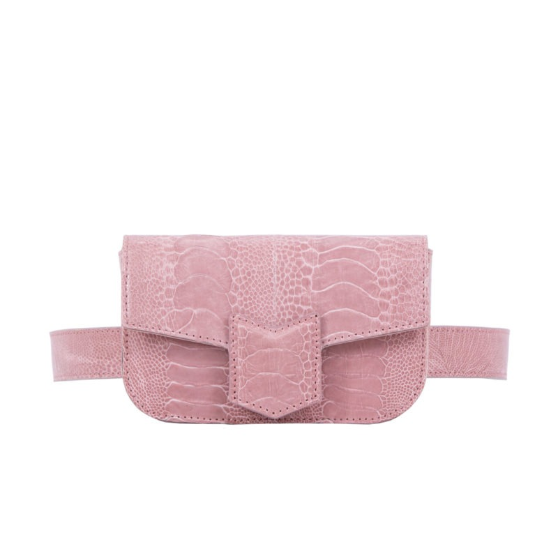 Mona Beltbag in Dusty Pink Ostrich Leg 1