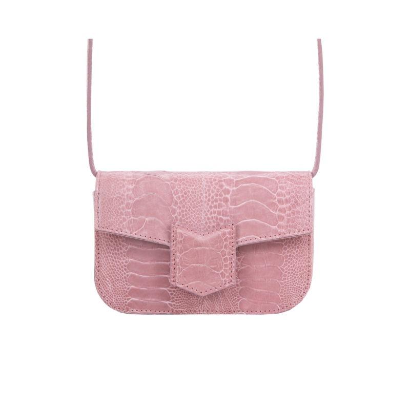 Mona Beltbag in Dusty Pink Ostrich Leg 3