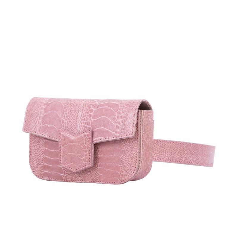 Mona Beltbag in Dusty Pink Ostrich Leg 2