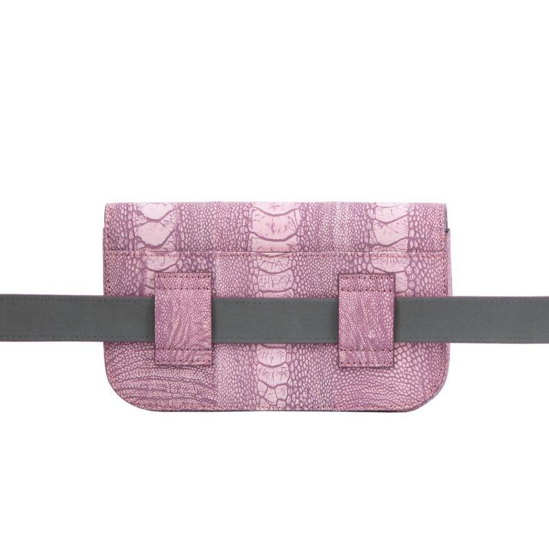 Caia Beltbag in Stone Wash Pink Ostrich Leg 3