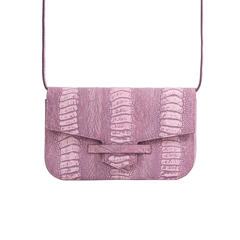 Caia Beltbag in Stone Wash Pink Ostrich Leg 4