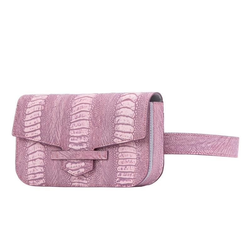 Caia Beltbag in Stone Wash Pink Ostrich Leg 2