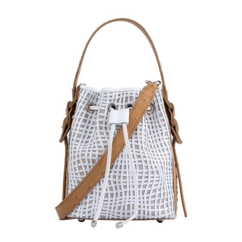 Trixie in Antique Saddle Ostrich & White Tinto Wave Canvas 1
