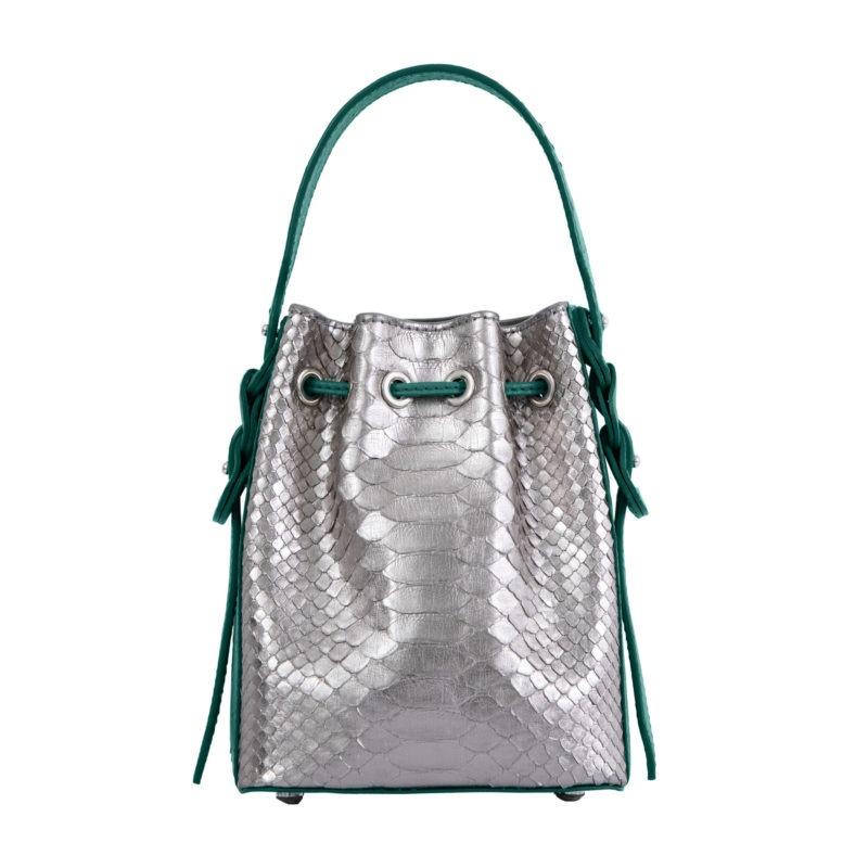 Trixie in Silver Mist Python & Brilliant Green Ostrich 3