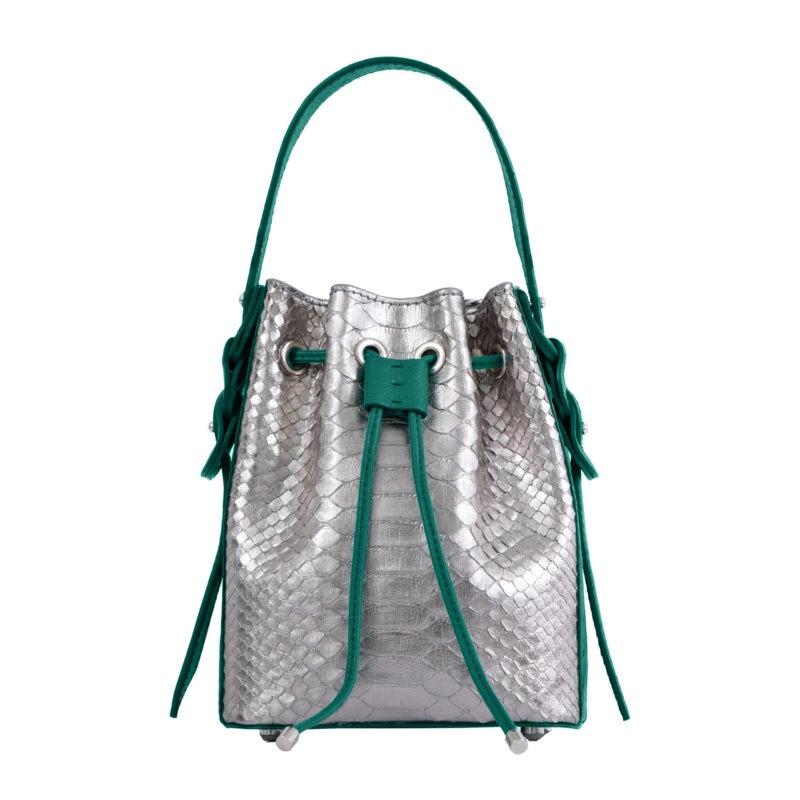 Trixie in Silver Mist Python & Brilliant Green Ostrich 4